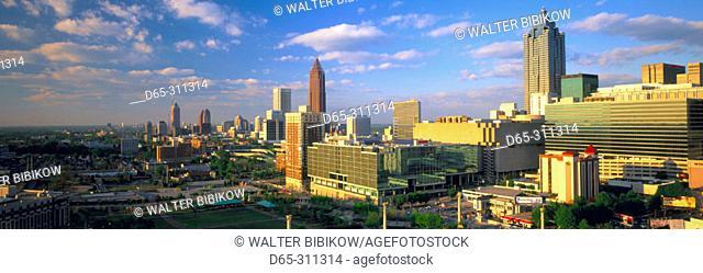 City skyline at sunset looking North from CNN center. Atlanta. Georgia, USA