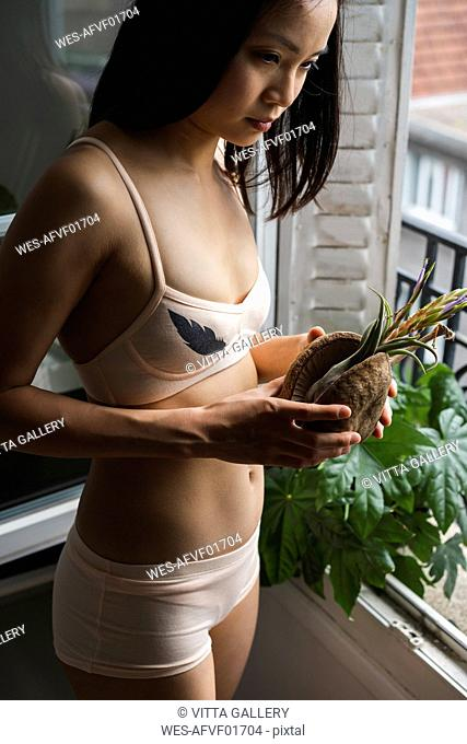 Attractive young woman in lingerie standing at the window holding a plant