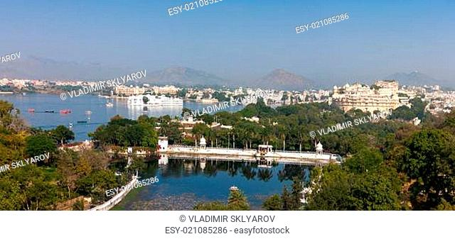 Udaipur. View of Lake Pichola, City Palace and Taj Lake Palace