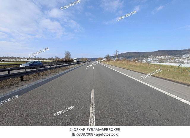 Empty two-lane A81 motorway following a traffic accident