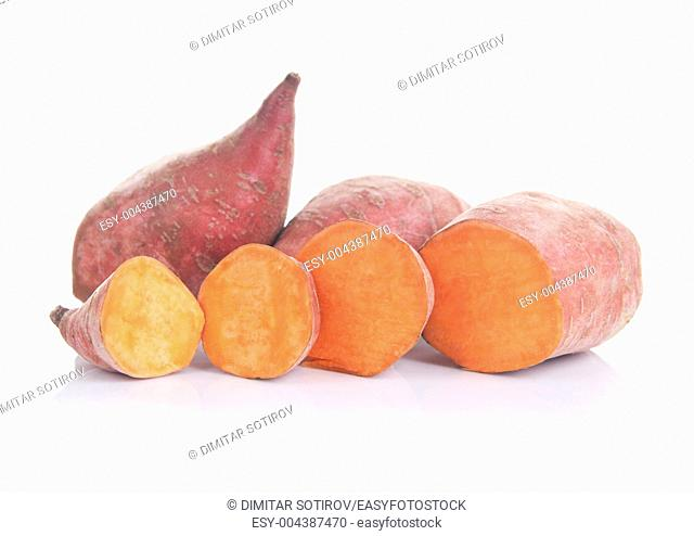 Sweet potatoes lat Ipomoea batatas , isolated on white background