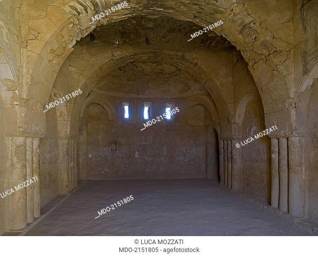 Castle of al-Kharana (Qasr al-Kharana), 705-710, 8th Century A.D., stone building. Jordan, Amman. Detail. Al-Kharrana western cerimonial hall of the 1st floor...