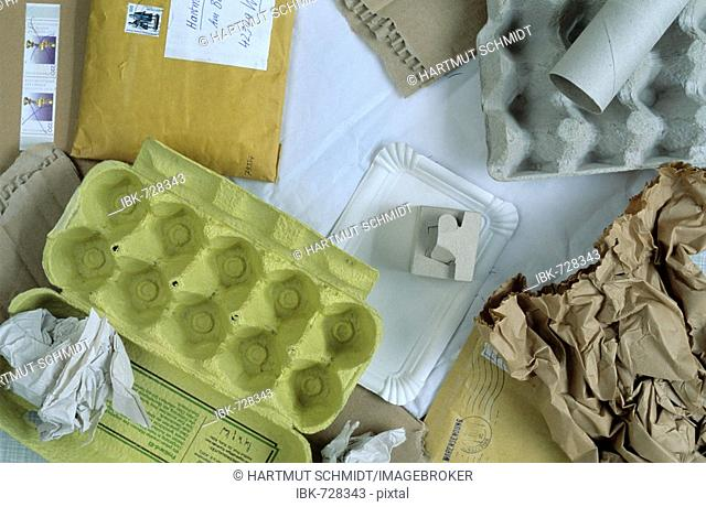 Various kinds of paper to be recycled
