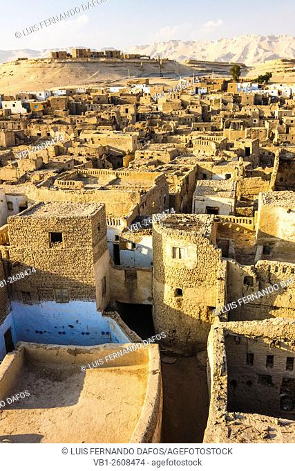 Overview of Al-Qasr, the medieval-Ottoman town of Dakhla Oasis. Egypt