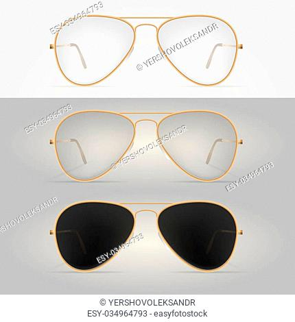 f58a10558 Gold-rimmed sunglasses. Three illustrations isolated on white and gray