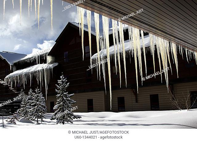 Giant icicles form during the winter at old Faithful's Snow Lodge at Yellowstone National Park,Wyoming