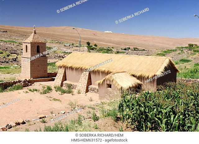 Chile, Antofagasta region, Atacama Desert, Socaire, straw-roofed church of the village of Socaire in the Andes