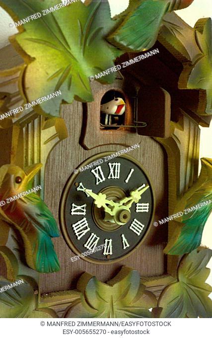 Close-up of original Black Forest Cuckoo Clock