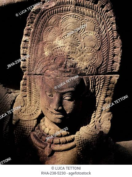 Detail, Leper King's Terrace, Angkor Thom, Angkor, UNESCO World Heritage Site, Cambodia, Indochina, Southeast Asia, Asia