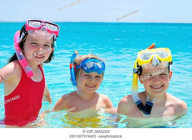 Three Children with Snorkels