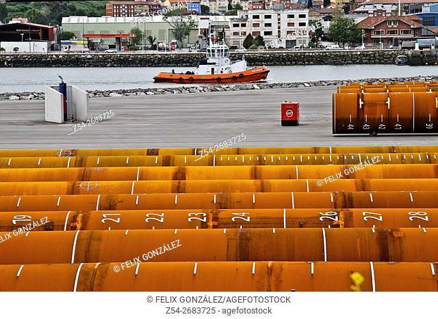 Aviles Harbor, and tugboat Asturias, Spain
