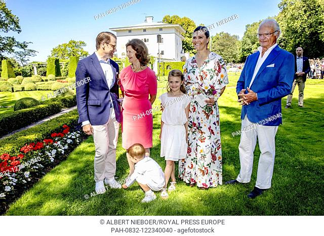 King Carl Gustaf and Queen Silvia, .Crown Princess Victoria and Prince Daniel, Princess Estelle and Prince Oscar of Sweden at Solliden Palace in Borgholm