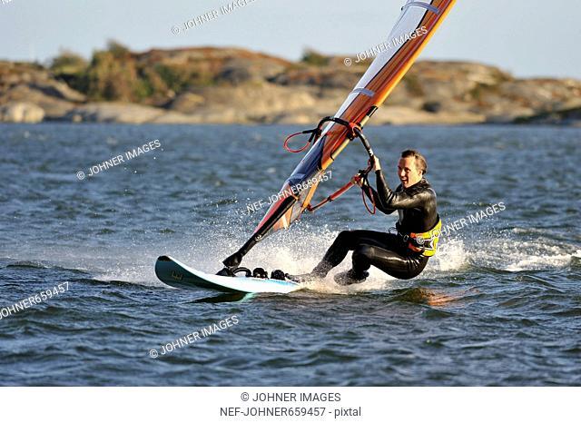 Windsurfer on the sea, Sweden