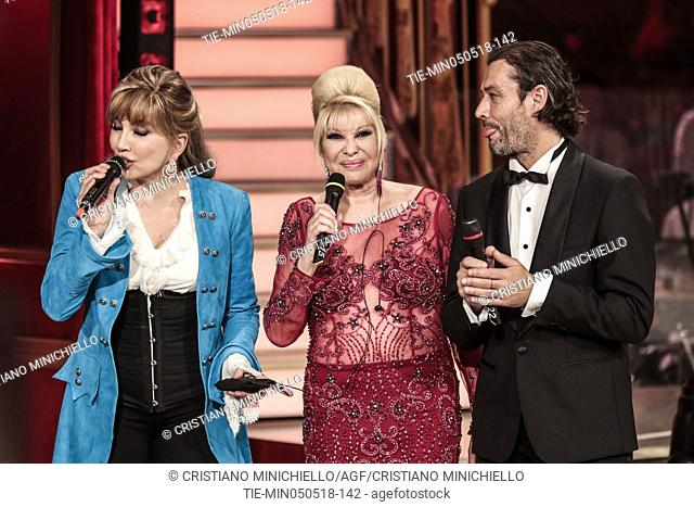 Tv presenter Milly Carlucci, Ivana Trump and husband Rossano Rubicondi during the tv show Dancing with the stars, Rome, ITALY-05-05-2018