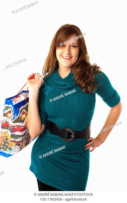 Woman with Christmas theme shopping bag