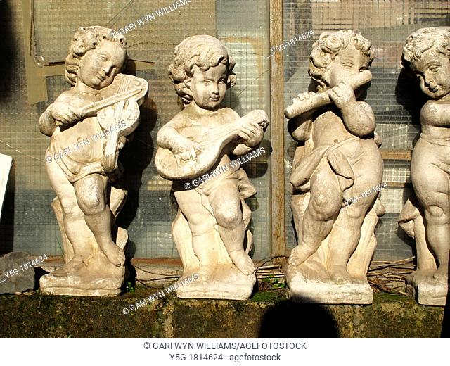 roman sculptures at stonemason's yard in rome italy