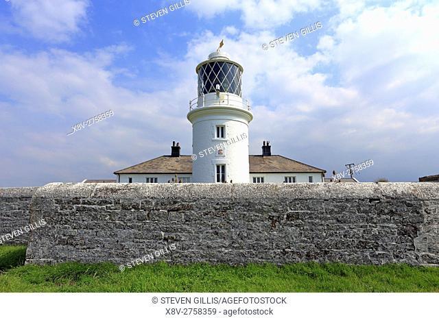 St Bees Head lighthouse on the Coast to Coast Walk, Cumbria, England, UK