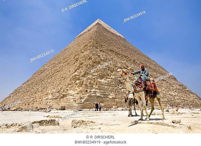 Pyramid of Khafra with tourists and cameleer, Egypt, Kairo