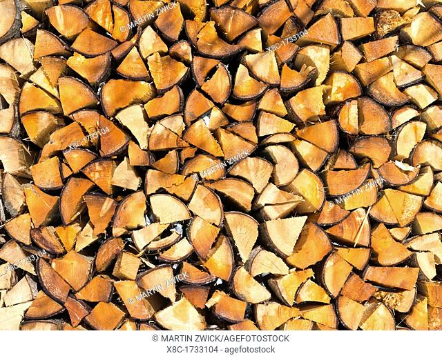 Pile of fire wood during Winter, Germany Europe, Central Europe, Germany, Bavaria