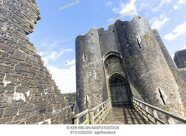 Caerphilly, Caerphilly, Wales, United Kingdom. Caerphilly castle entrance