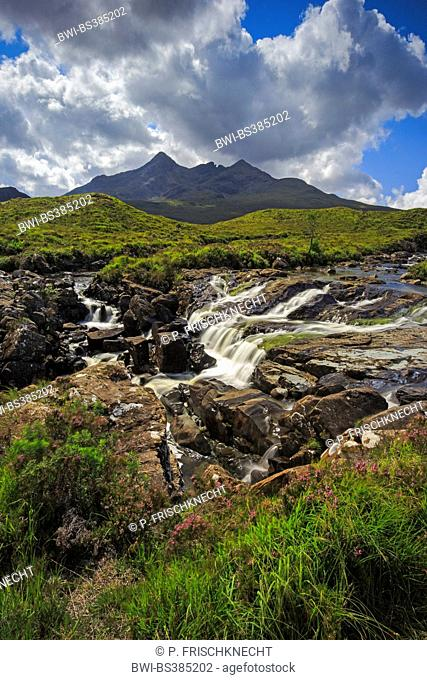 Cuillin Hills with river Sligachen, United Kingdom, Scotland, Isle of Skye
