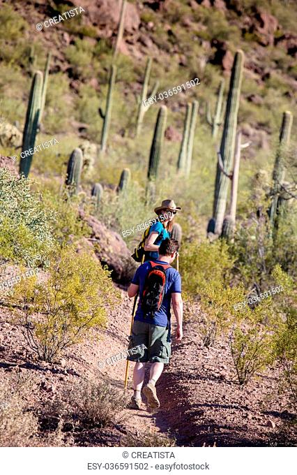 Couple rugged hiking in the American Southwest