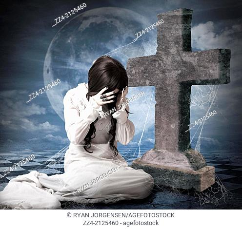 Creative digital artwork of a grieving widow bride in white wedding dress crying next to large cross tombstone during a spooky blue moon night