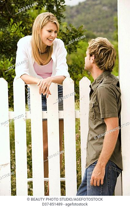 Couple chatting in the garden
