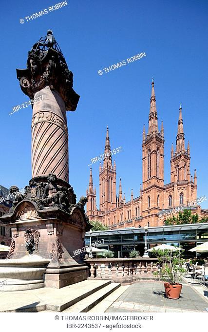 Marktkirche, Market Church or Cathedral of Nassau, market pillar, market square, Wiesbaden, Hesse, Germany, Europe, PublicGround
