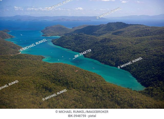 Aerial view of the Whitsunday Islands, Queensland, Australia