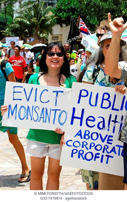 anti-GMO/Monanto march, Honolulu, Hawai'i