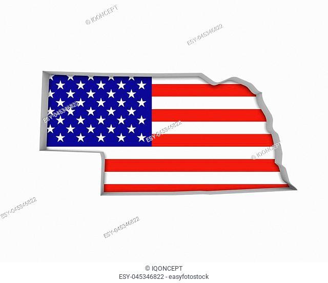 Nebraska NE USA Flag Stars Stripes Map 3d Illustration