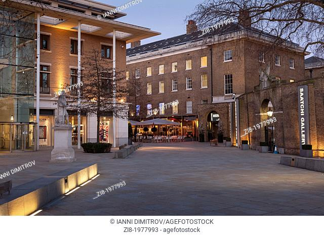 Retail stores and restaurants in Duke of York Square and the Saatchi gallery for contemporary art, Chelsea, London, England