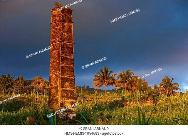 France, Ile de la Reunion (French overseas department), Saint Louis, le Gol les Hauts, historical heritage, antique fireplaces furnace operating sugarcane