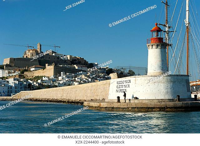 Ibiza port lighthouse, View of Ibiza old town and Dalt Vila, Ibiza, Balearic Islands, Spain, Mediterranean, Europe