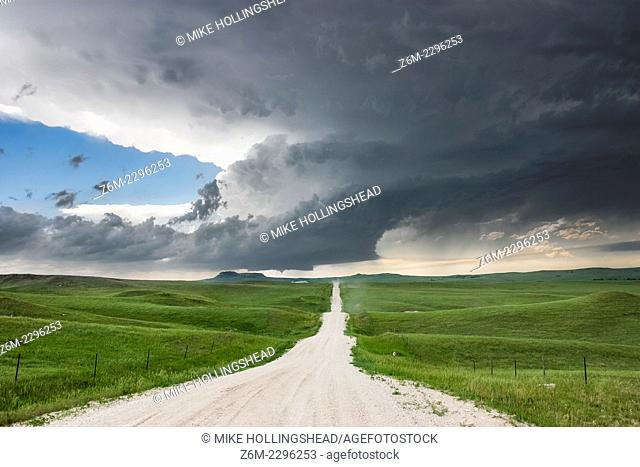 Supercell storm moves across the badlands area of southwest South Dakota near Kadoka, June 7, 2005