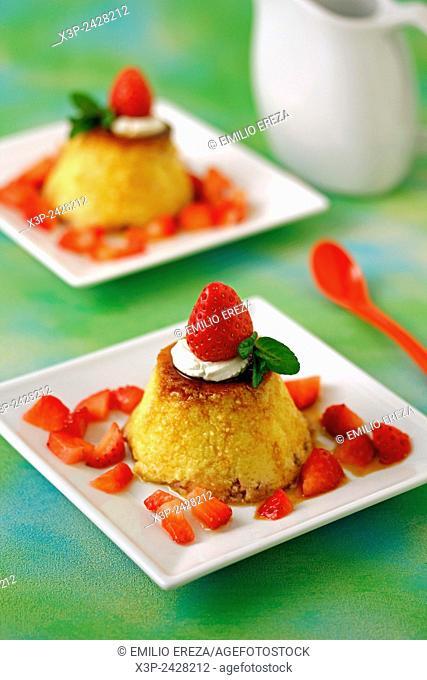 Strawberries flan
