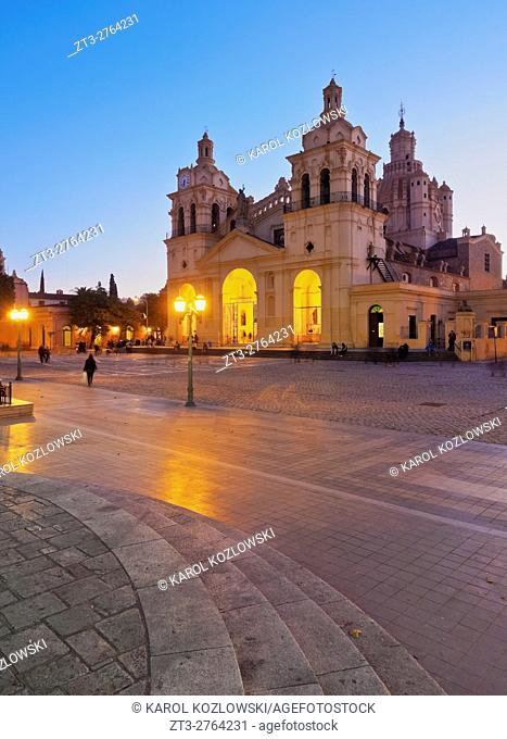 Argentina, Cordoba, Twilight view of the Cathedral of Cordoba