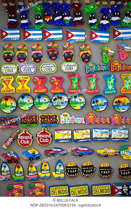 Fridge magnets for sale at a tourist site in Cuba