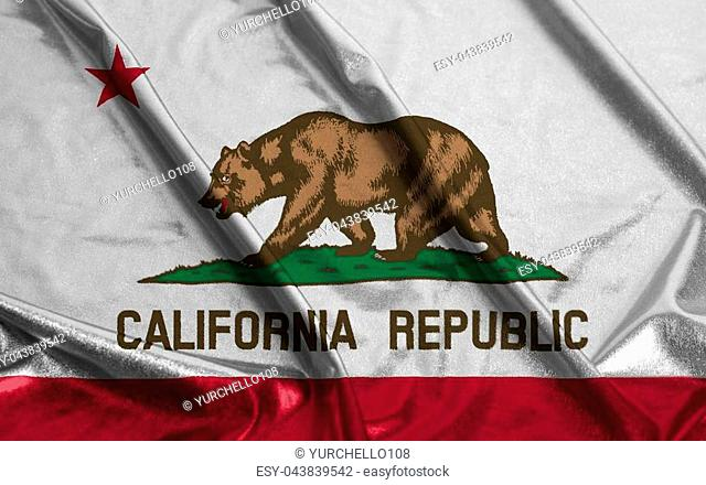 Flag of California State United States of America Rippled Waving background close up