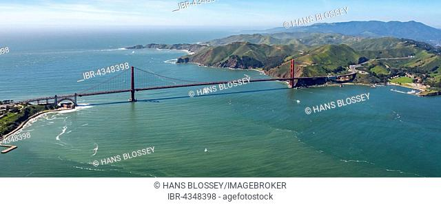 Aerial view, Golden Gate Bridge as seen from the Pacific from San Francisco, San Francisco Bay Area, California, USA