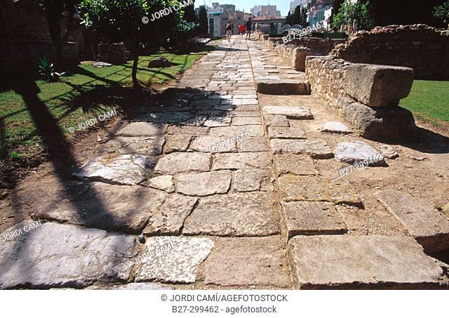 Remains of Roman street in Roman Forum. Tarragona. Catalonia. Spain