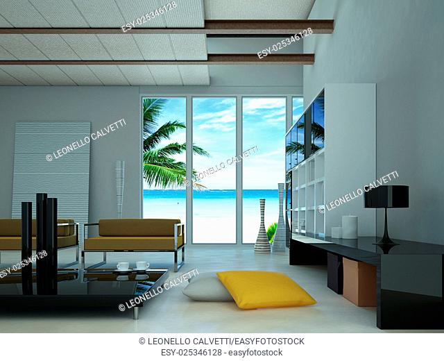 Modern livingroom, with a large window showing a tropical beach with a palm outside