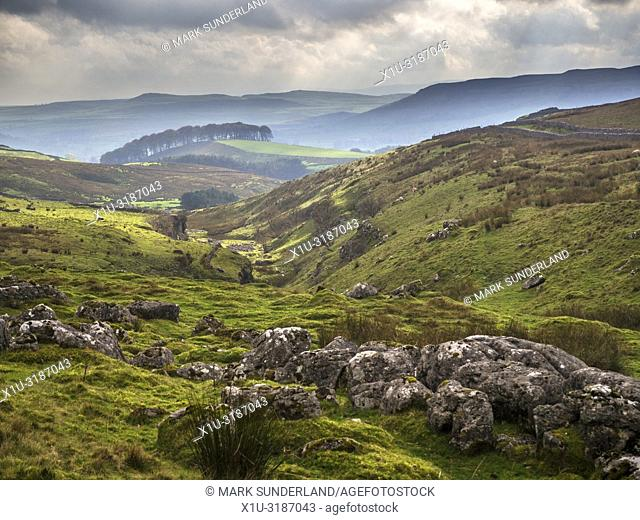 View along Ribblesdale from Horton Scar Lane near Horton in Ribblesdale Yorkshire Dales England