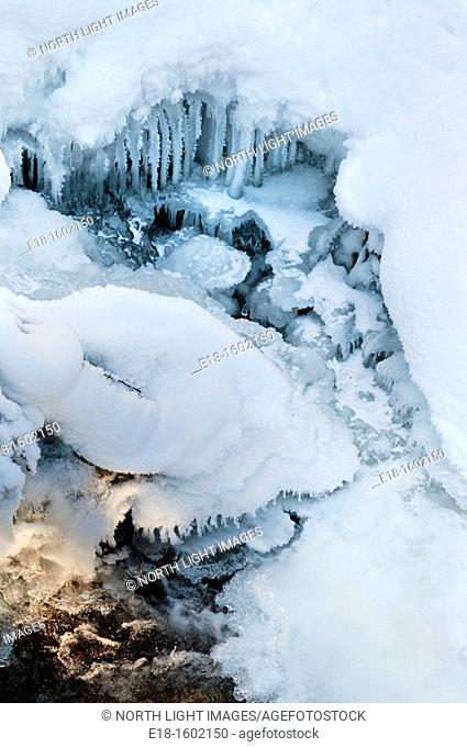 Canada, BC, Whistler. Small frozen waterfall in the Calaghan Valley nordic ski area