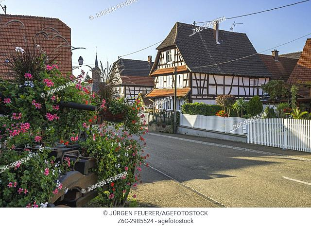 typical street with half-timbered houses with flower decoration in Hunspach, small village in Northern Alsace, North Vosges, France
