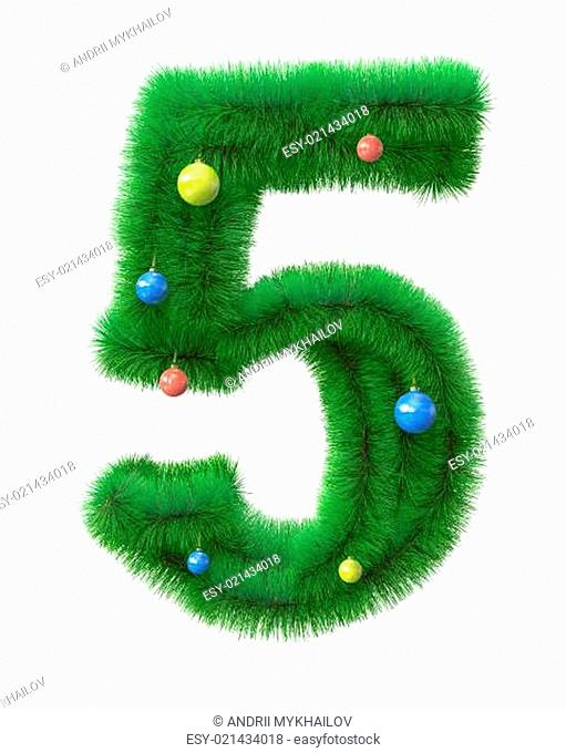 5 number made of christmas tree branches