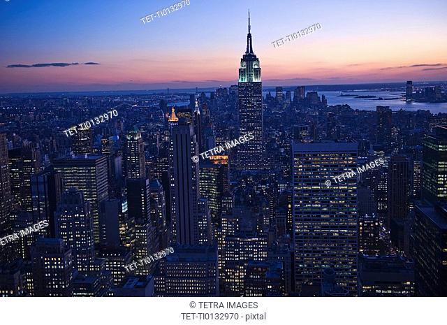 Sunset view of Empire State Building and New York City