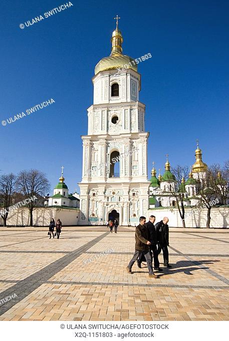 Bell tower of St Sophia Cathedral at Sofiyska Square Kiev Ukraine