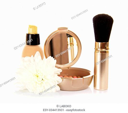 The basis for cosmetics, the blush and the chrysanthemum flower, isolated on white